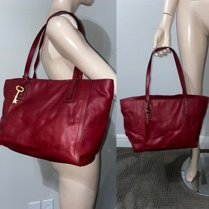 Fossil Red Leather Shoulder bag Tote